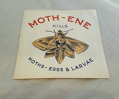 Antique Original MOTH-ENE MOTH INSECT Paper Grocery Store Poster Sign 1910s