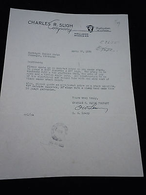 Vintage Letter Charles R Sligh Company Holland Michigan 1939