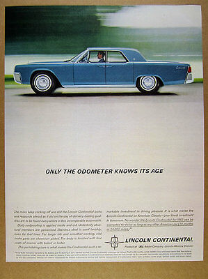 1962 Lincoln Continental blue sedan car photo vintage print Ad