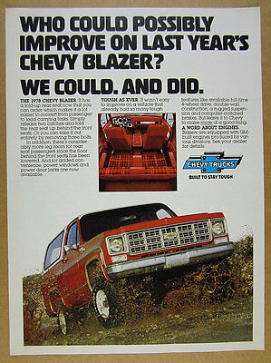 1978 Chevrolet Chevy BLAZER red truck color photo vintage print Ad