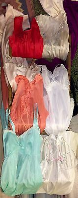Lot Of 8 Vintage Full Slips Gown Chiffon Sheer Lace Lingerie Bust S M Resale