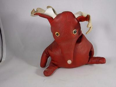 Vintage Red Leather Bean Bag Reindeer with White Leather Antlers Rudolf?