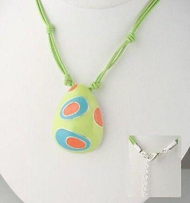Murano Style Hand Painted Silver necklace 18 inch long / new