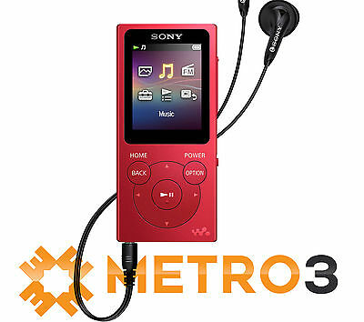 NEW Sony Walkman E-Series NWE394 8GB MP3 Digital Music/Video FM Player RED
