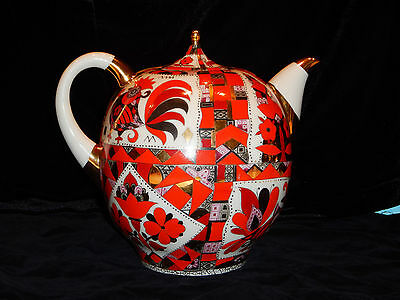 Red Gold Hand Painted Porcelain Teapot Large10 cup Russian Lomonosov PERFEC GIFT