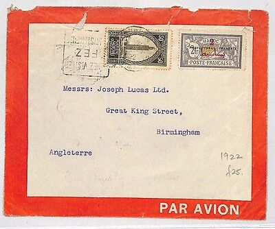 J39 1922 France Colonies MOROCCO Airmail *Fez* Birmingham 2f *Merson* Cover