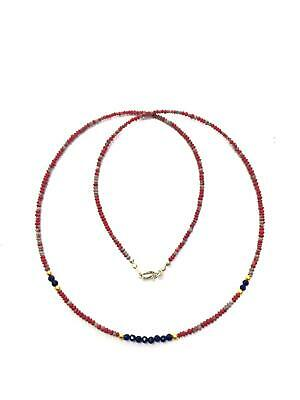 Afghan Natural Top Quality Rondelle Coral, Lapis Tiny Seed Mini Beads Necklace