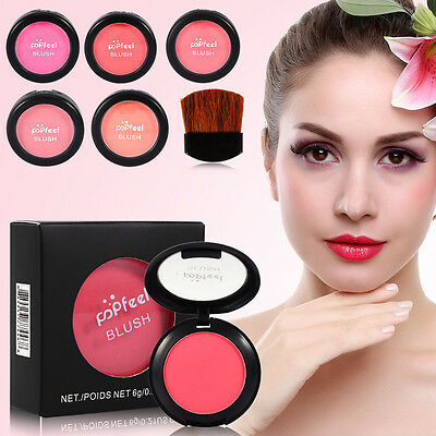 6 Colors Women Three-in-one Cheek Makeup Blusher Beauty Cosmetics With Brush