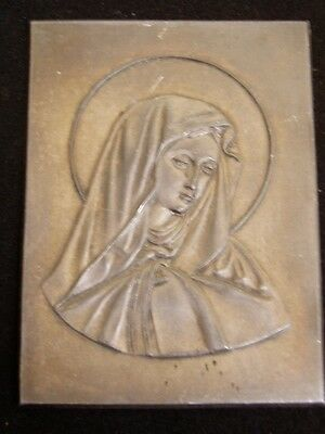 Pewter Virgin Mary Relief Plaque