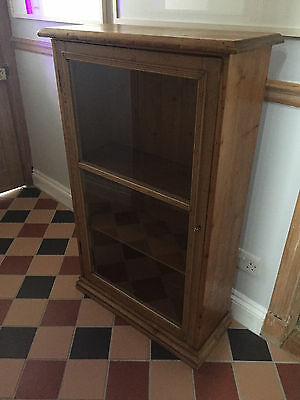 Victorian Glazed Pine  Cupboard - Pine Display Case - Old Pine Cabinet - Antique