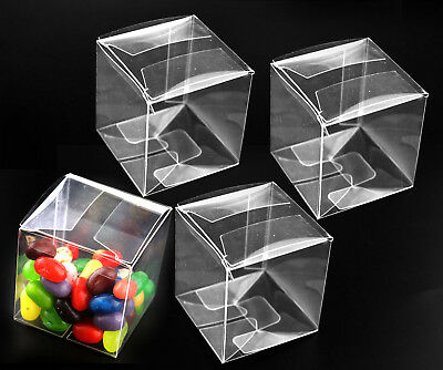 25/50pcs Square Transparent Clear Cube Favour Boxes Sweet Candy Cake Chiristmas
