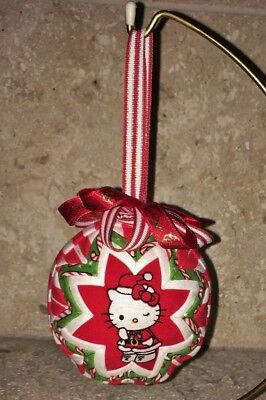 NEW Handmade Quilted Fabric Christmas Ornament Ball Red Green White Hello Kitty