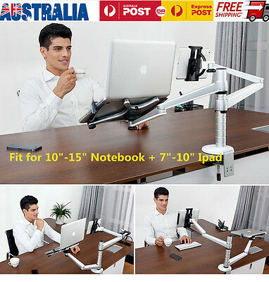 Aluminum Dual Arm Laptop Bracket Desk Mount Holder For iPad Air Mini MacBook