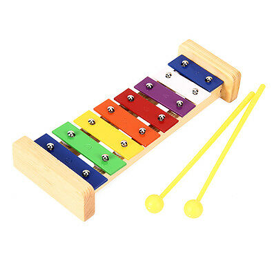 8 Notes Wooden Marimba Xylophone + 2 Hammers Children Toy Musical instrument