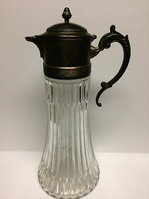 """Vintage EP Zinc Silver plated Heavy Cut Glass 14"""" Tall Wine Pitcher Jug ITALY"""