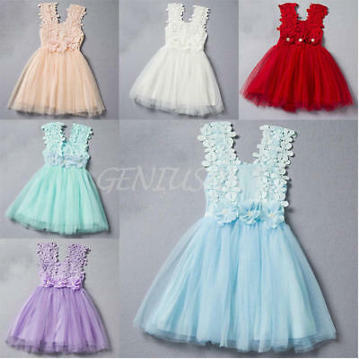 Cute Kids Baby Girl Princess Lace Tulle Flower Tutu Sleeveless Party Short Dress