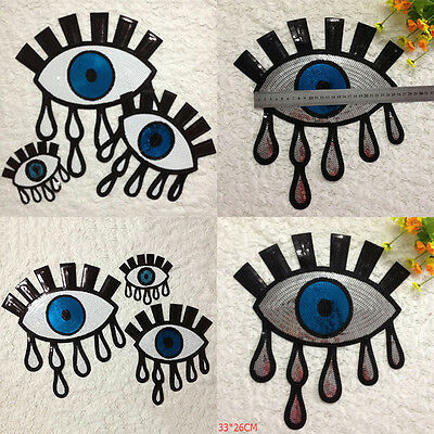 Eyeball Tattoo Biker Punk Embroidered Applique Sequins Iron On Patch Badge FT