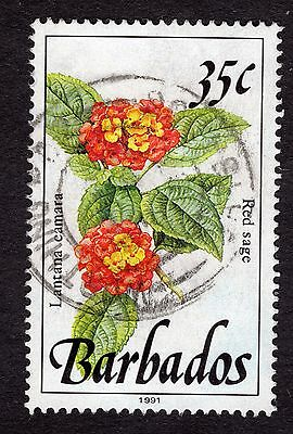 1991 Barbados 35c Red Sage SG895a FINE USED R32056