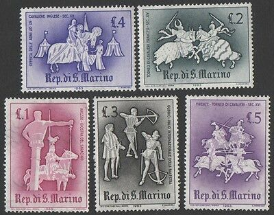 San Marino stamps. 1963 Medieval Tournament. Low Values. MLH