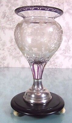UNIQUE Dutch 19thC Antique Wine Goblet Chalice Crystal Hand Etched Silver Glass