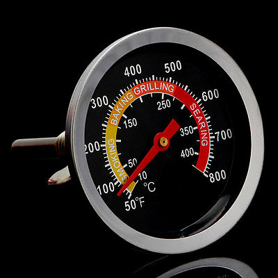 Barbecue Thermometer Gauge 50-400℃ Stainless Steel BBQ Smoker Grill Temperature#