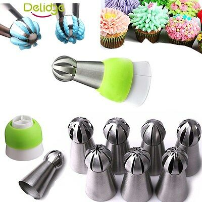 9 Russian Ball Shape Flower Icing Piping Nozzles Tips Converter Cake Dector Set