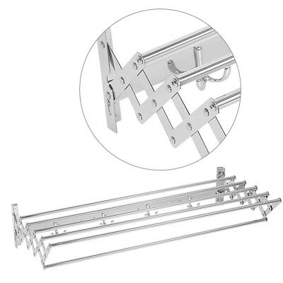Wall Mounted Stainless Steel Laundry Rack Extendable Clothes Hanger Dryer 80CM