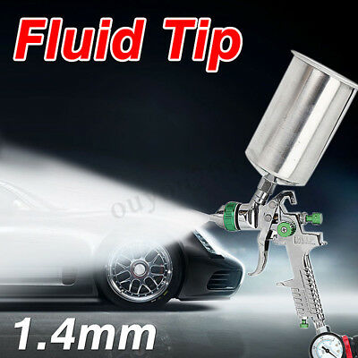 1.4mm Pro HVLP Spray Gun Car Paint Gravity Feed Gauge Primer Nozzle 1000mL Cup