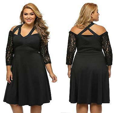 Ladies Evening Black Alluring Lace Sleeve Swing Party Plus Size Dress 14 16 18
