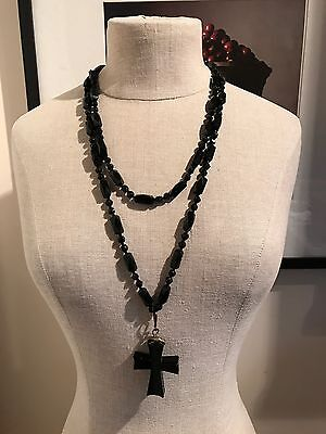 Antique Large Victorian French Black Jet Cross And Necklace