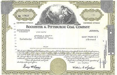 Rochester & Pittsburgh Coal Company.....1986 Stock Certificate