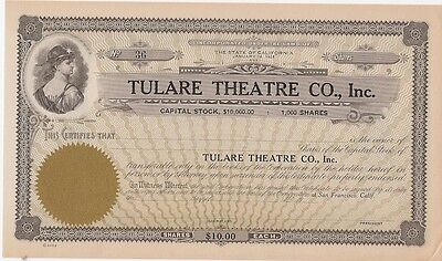 Tulare Theatre Co Inc.....umissued Stock Certificate
