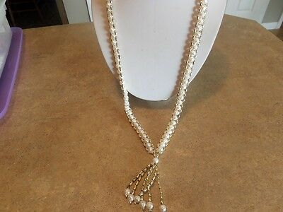Long Vintage Gold Tone and Faux Pearl Tassel Necklace