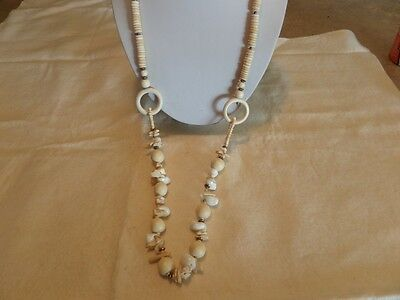 Long Vintage Wood and Shell Necklace