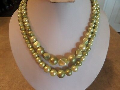 Vintage Green Faux Pearl Double Strand Necklace