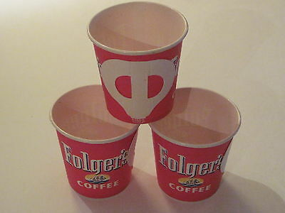 Vintage Folgers Dixie 4 Ounce  Store paper Coffee Cup folding handle