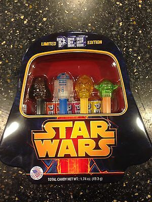 Collectors Edition Star Wars Pez Dispensers With Darth Vader Tin R2d2