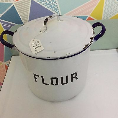 Vintage Enamel Flour Bin / Tin. White And Blue