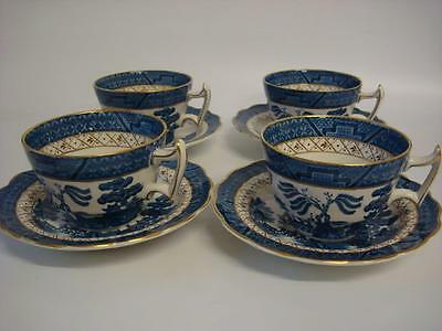 Booths Real Old Willow A 8025 4 X Vintage Breakfast Cups And Saucers