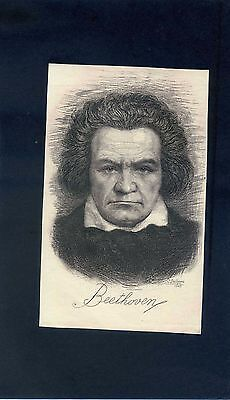 Hand engraved print by Camilo Delhom - Beethoven 1945