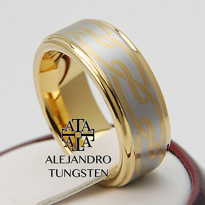 Tungsten Ring Wedding Comfort Fit Band 8MM Gorgeous Gold Celtic Size 8.5 #JMA