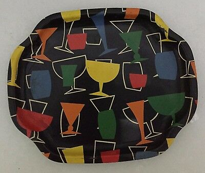 WORCESTER WARE VINTAGE 50*s ATOMIC STYLE SMALL COCKTAIL DRINKS TRAY