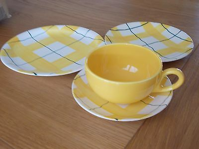 Vintage Retro J & G Meakin Habitant Yellow Cup Saucer And Plates - 1950's