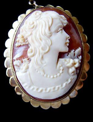 Vintage 9ct Yellow Gold Cameo Brooch Fully Hallmarked