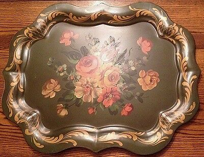 """Large Vintage FLORAL ROSES Hand Painted GREEN TOLEWARE CHIPPENDALE Tray 25"""""""