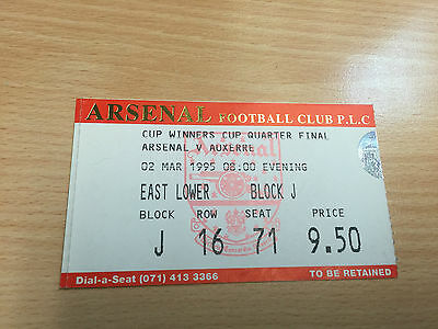 Vintage used ticket Cup Winners Cup Quarter Final Arsenal V Auxerre 1995