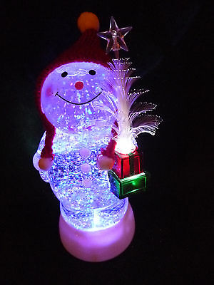 Hallmark Bag Snowman w/ Fiber Optic Tree Snow Globe Changes Color Motorized NEW