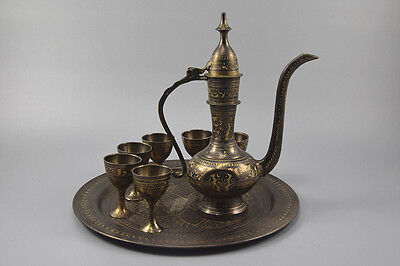 ALKOHOL SET AUS PAKISTAN, Tablett, Kanne, Becher, Handarbeit, [C27536]