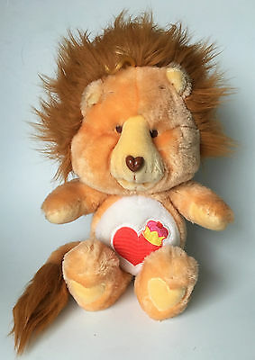 Kenner 1984 Care Bears Cousins Brave Heart Lion Plush Heart & Crown