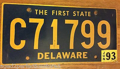 Vintage Retired Delaware License Plate C 71799 The First State